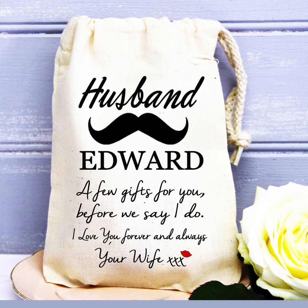 groom husband to be personalised wedding day cotton gift bag love from wife