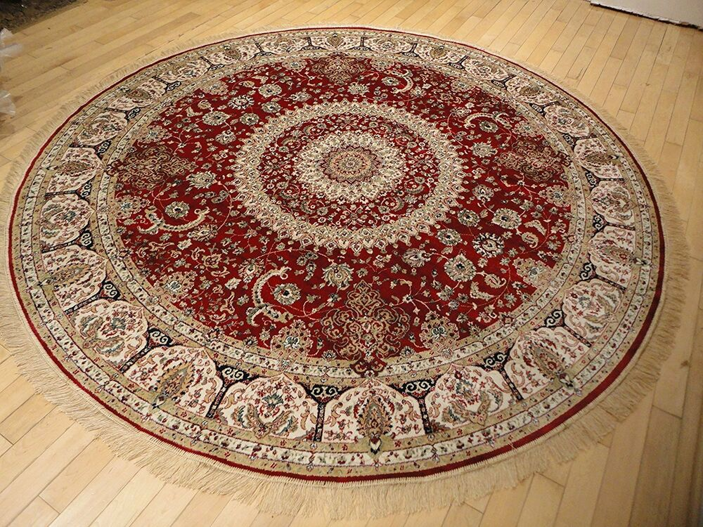 Persian Silk Rugs 6 Ft Round Rugs Red Silk Rug Circle Blue