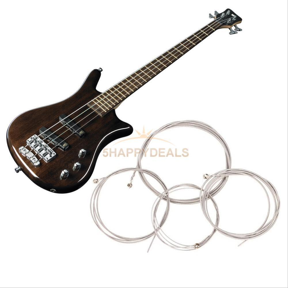 4 size pro string bass guitar parts stainless steel plated gauge strings silver ebay. Black Bedroom Furniture Sets. Home Design Ideas