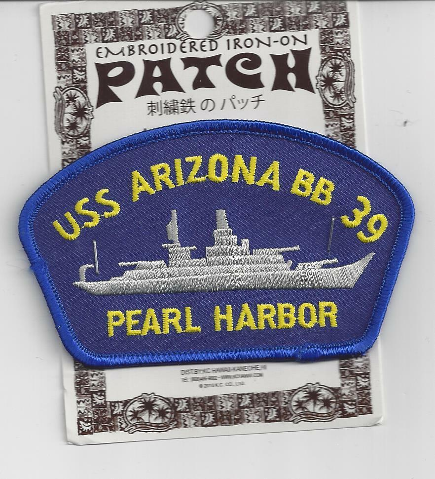 Us navy ship patch, uss arizona bb-39, now a memorial at pearl.