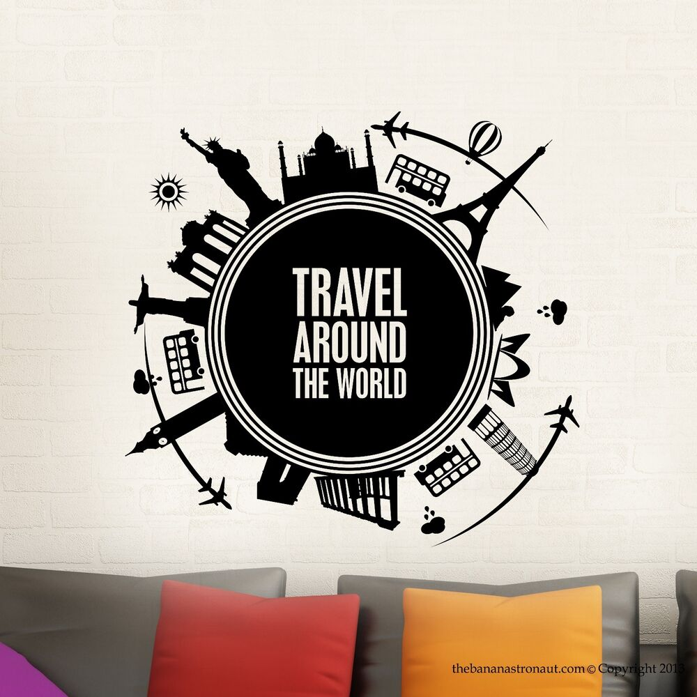 Wall decal stickers travel around the world map modern for Cruise around the world