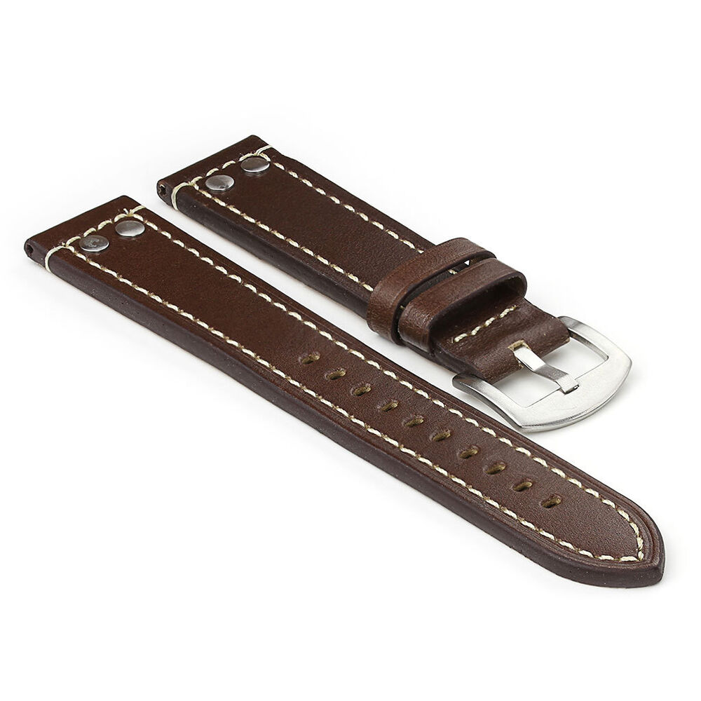 Strapsco brown thick leather watch strap with rivets mens band fits tw steel ebay for Violet leather strap watch