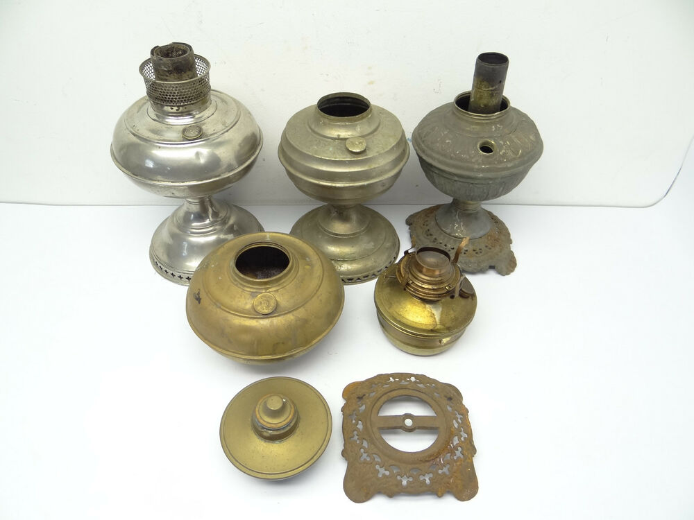 antique amp vintage lot used metal brass lamp founts 87993