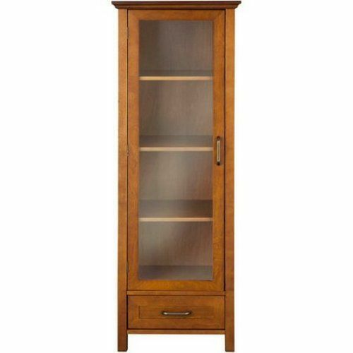 bathroom linen cabinet tall tower oak wood organizer closet drawer