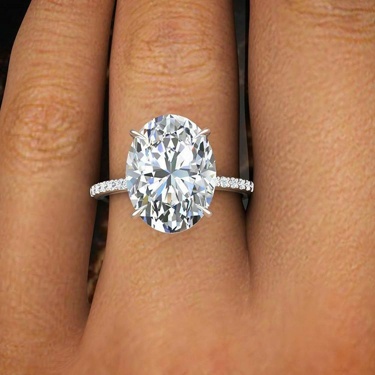 1.50 Ct Natural Oval Cut Pave Diamond Engagement Ring GIA