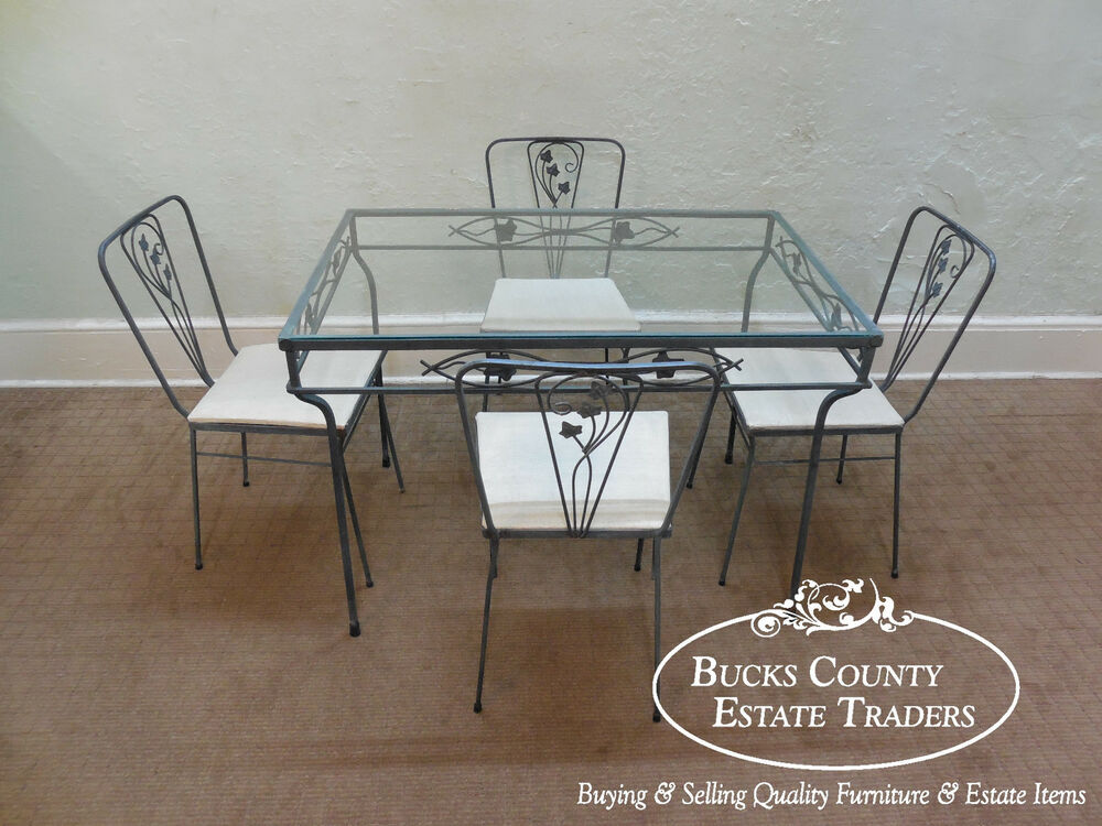 Vintage Wrought Iron 5 Piece Patio Table amp Chairs Dining  : s l1000 from www.ebay.com size 1000 x 750 jpeg 124kB