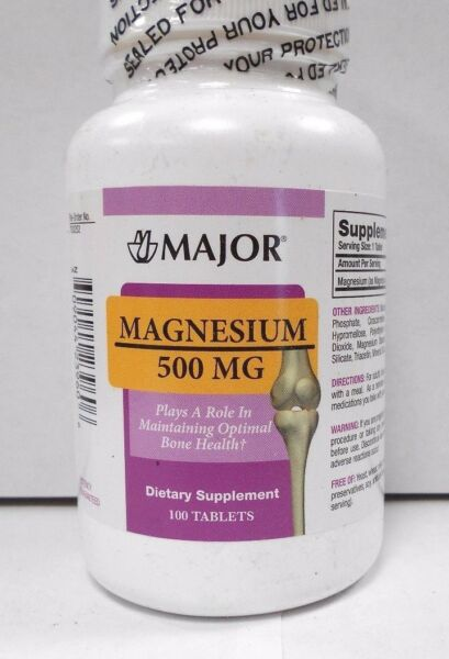 Major Magnesium 500mg 100ct Tablets -Expiration Date 05-2020-