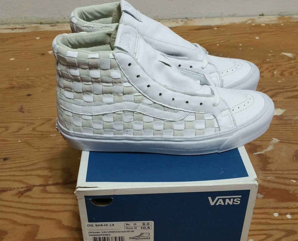 8d47d905ebaa90 Vans 50th OG Sk-8 Hi LX Checkered Past Woven Leather Size 9.0 supreme wtaps  757969385692
