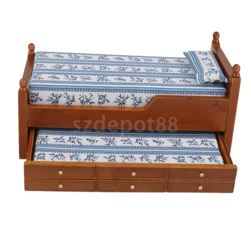 Dollhouse miniature walnut wood bed trundle mattress bedroom furniture 12th ebay Dollhouse wooden furniture