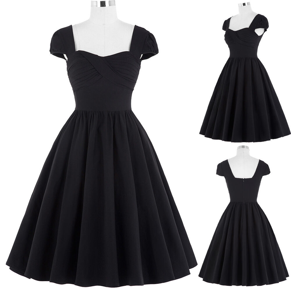 damen mode vintage 50er 60er jahre kleid ballkleid abendkleid sommer kleid s xl ebay. Black Bedroom Furniture Sets. Home Design Ideas