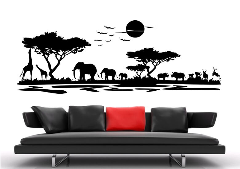 af22 wandtattoo wandsticker afrika landschaft tier giraffe. Black Bedroom Furniture Sets. Home Design Ideas