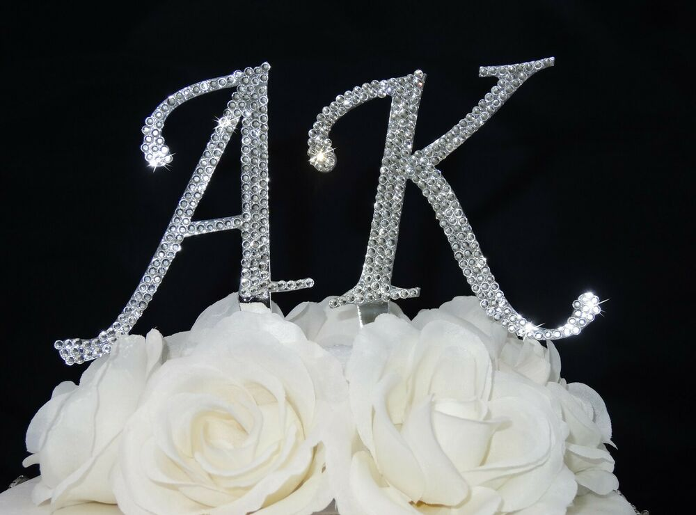 crystal letter wedding cake toppers wedding rhinestone renaissance monogram bling cake 13111