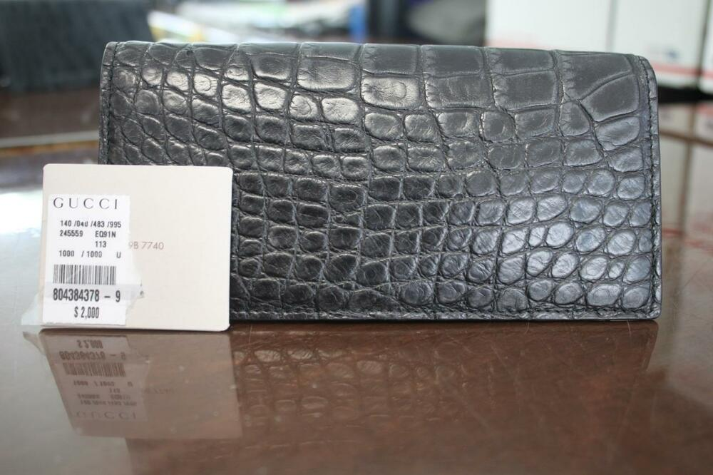 Authentic Gucci Alligator Crocodile Checkbook Wallet
