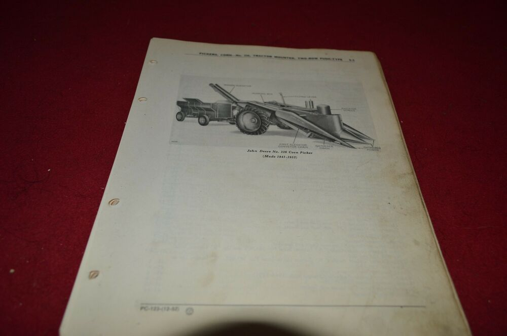 John Deere 226 Corn Picker Dealer U0026 39 S Parts Book Manual