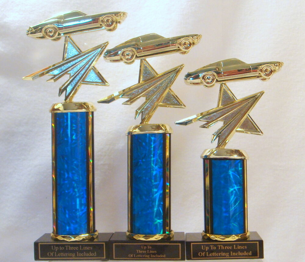 3 FORD MUSTANG TROPHIES, CAR TROPHY, CAR SHOW, AUTO SHOW