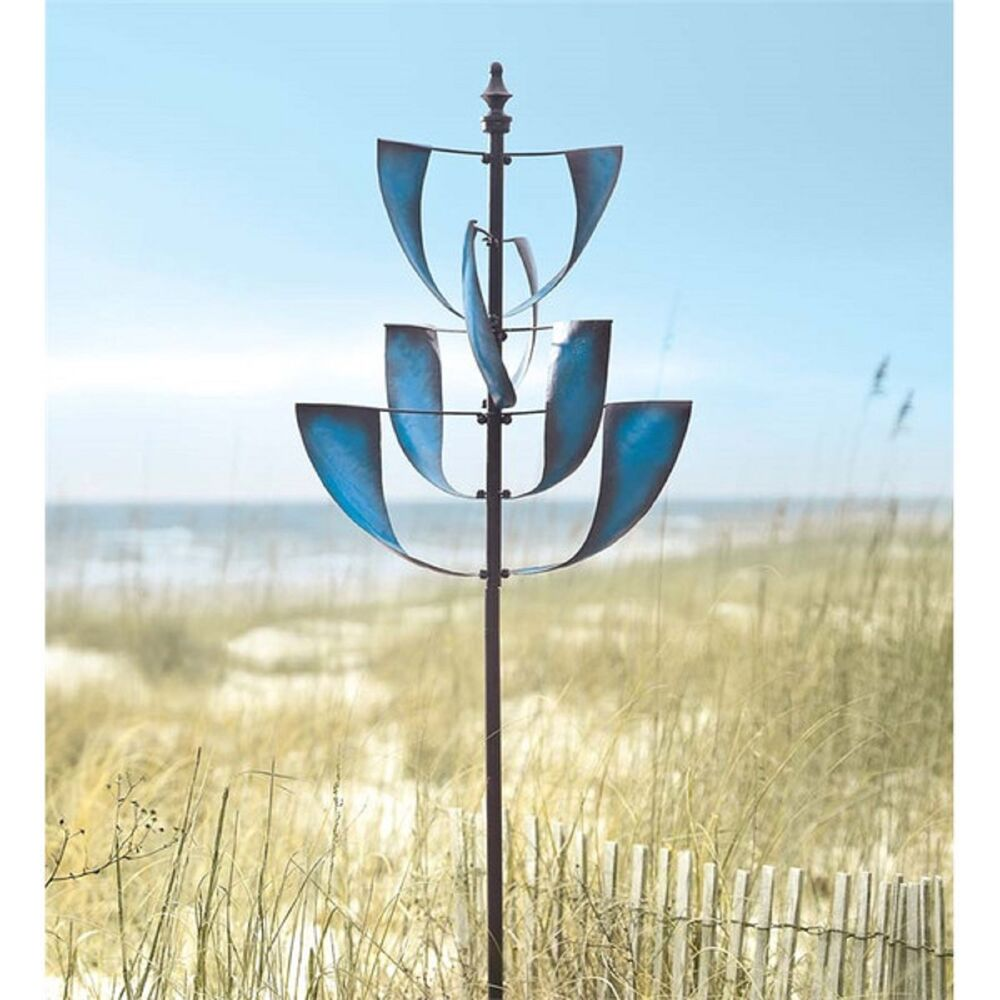... Wind Spinner Garden Planter Stake Kinetic Metal Windmill New | eBay