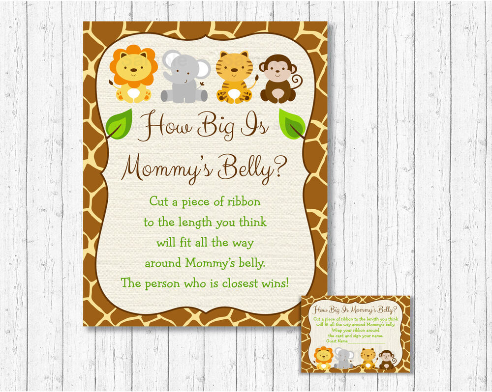 Cute Jungle Safari Animals How Big Is Mommys Belly Baby Shower Game