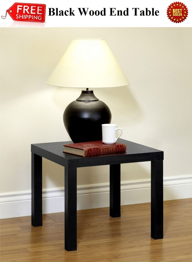 Small wood end table black nightstand side modern accent for Small wood end table