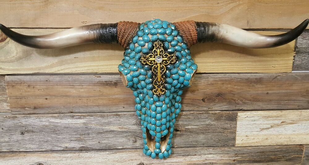 Western Resin Cow Skull W Turquoise Beads N Gold Cross 20
