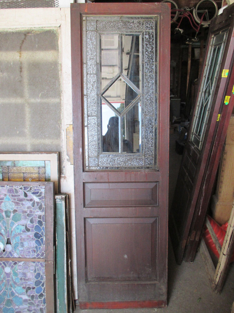 ~ ANTIQUE STAINED GLASS PANTRY DOOR MAHOGANY 25 x 80 ...