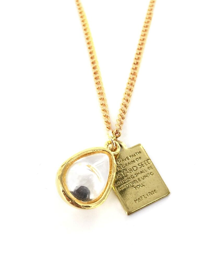 real mustard seed necklace pendant with bible verse plate