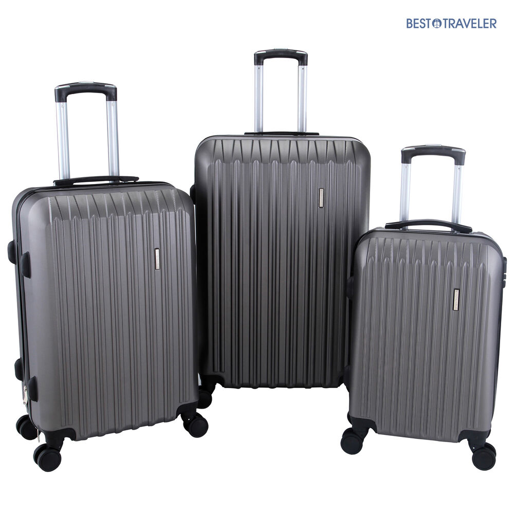 3pcs luggage travel set bag with lock abs trolley spinner carry on suitcase ebay. Black Bedroom Furniture Sets. Home Design Ideas