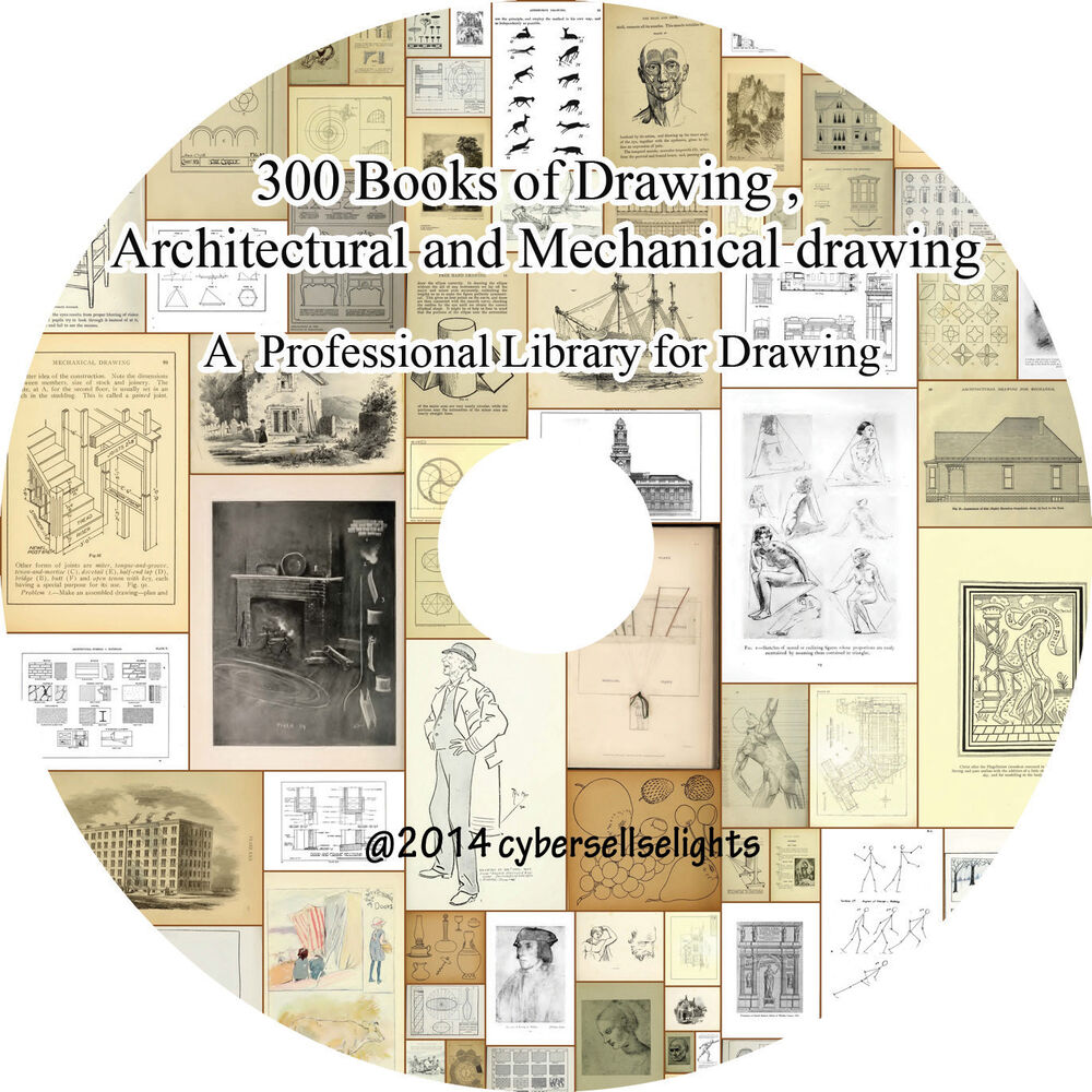 300 books library of drawing  architectural and mechanical