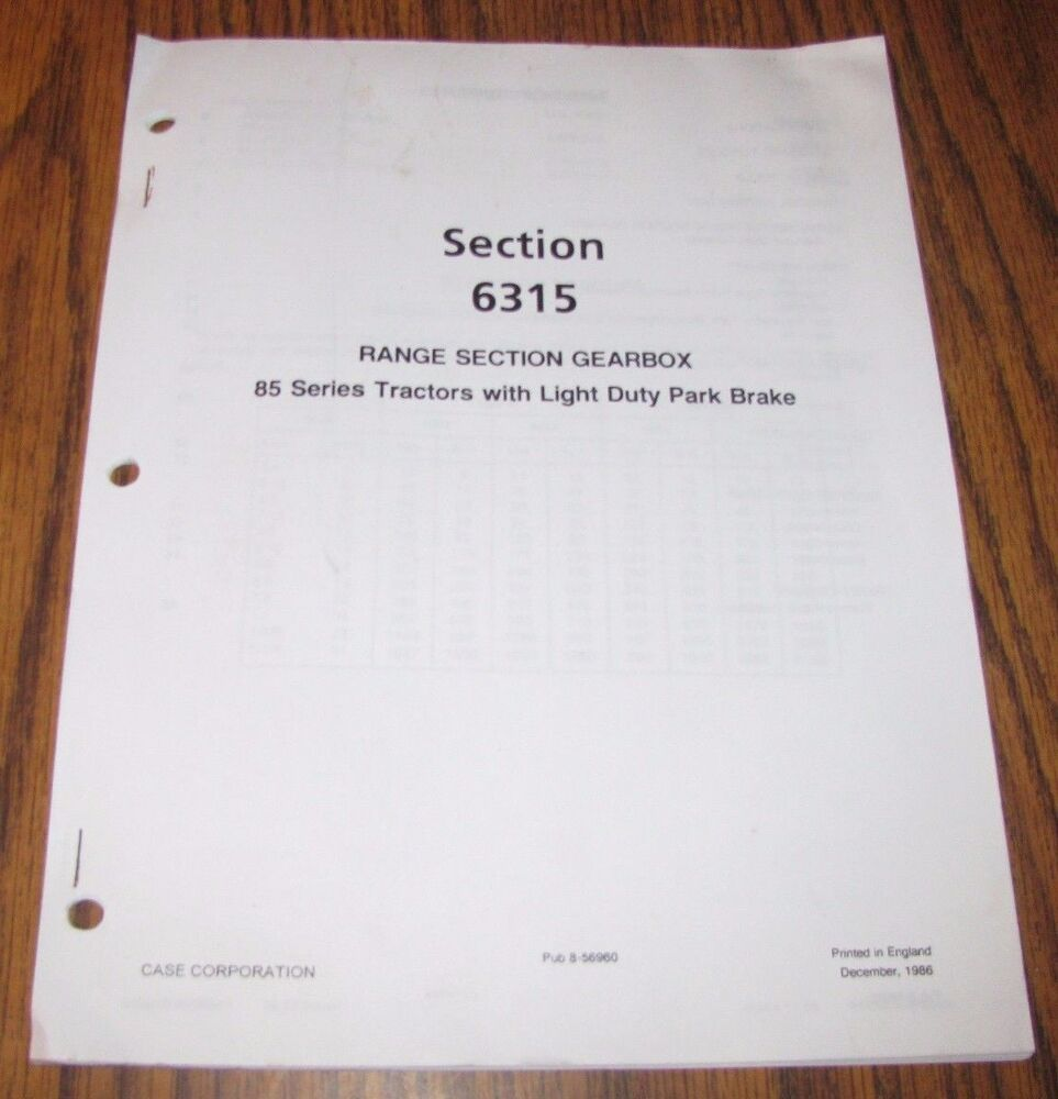 Case IH 985 885 785 685 585 485 Tractor Service Manual for Range Section  Gearbox | eBay