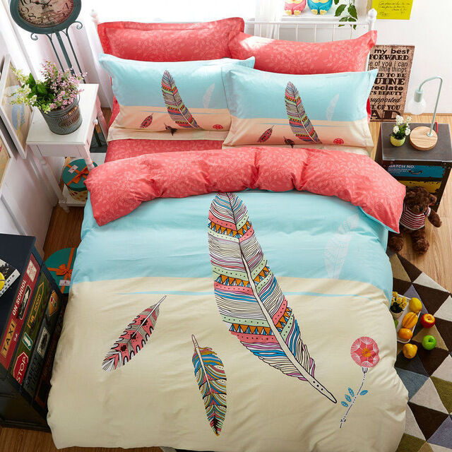 Colorful Feather Print Bohemian Style Twin Full Queen Size