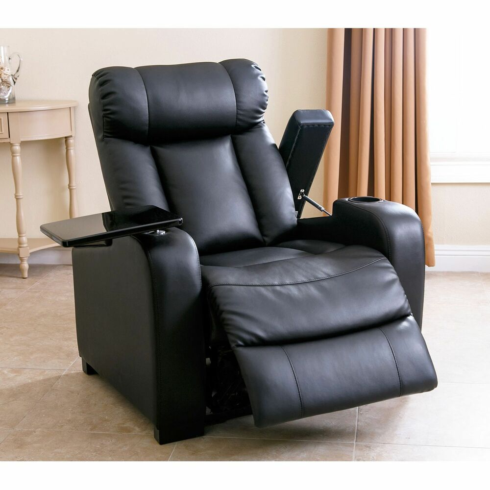 Black Leather Sofa With Recliner: Luxurious Power Recliner Black Bonded Leather Chair Home