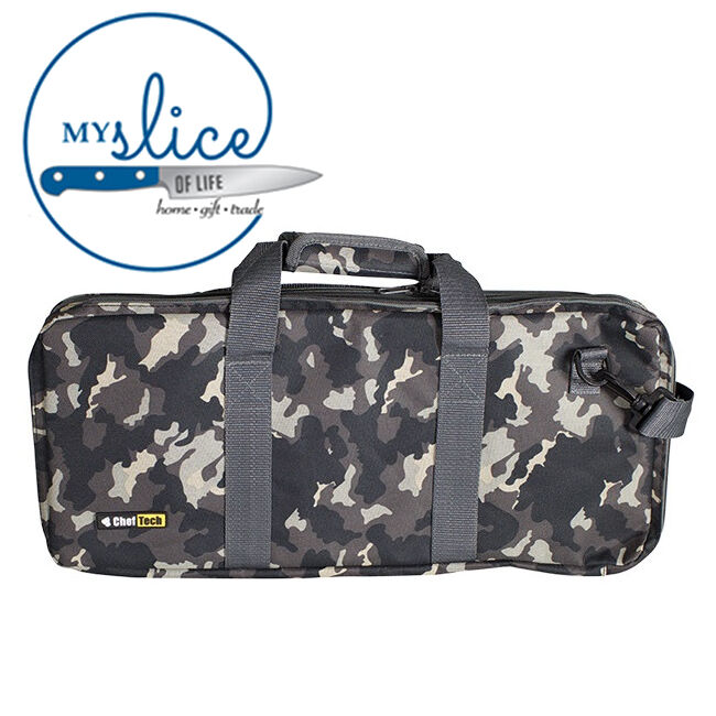 cheftech knife roll bag fits 18 pieces with handles camo butcher chef storage ebay. Black Bedroom Furniture Sets. Home Design Ideas