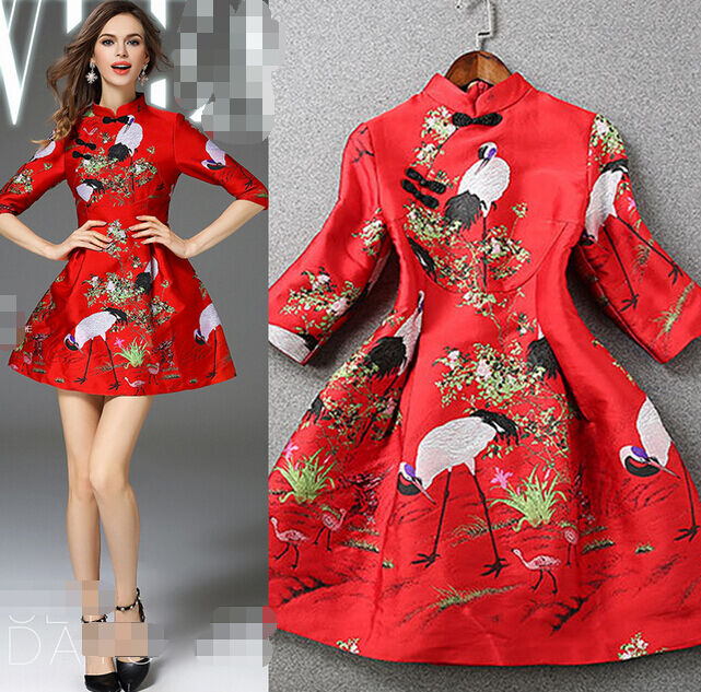 Women 39 s red traditional cheongsam chinese dress ruffled for Wedding dresses from china on ebay