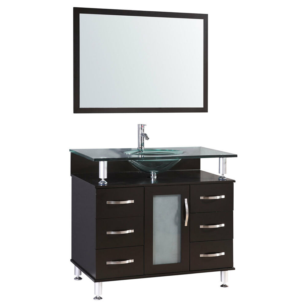 bathroom mirror vanity cabinet 36 quot espresso vanity cabinet lv1 36b with sink glass top 11600