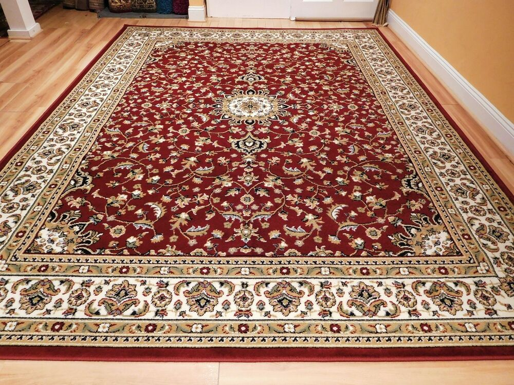 Red traditional oriental medallion 8x10 area rug persian for Living room rugs 8 by 10