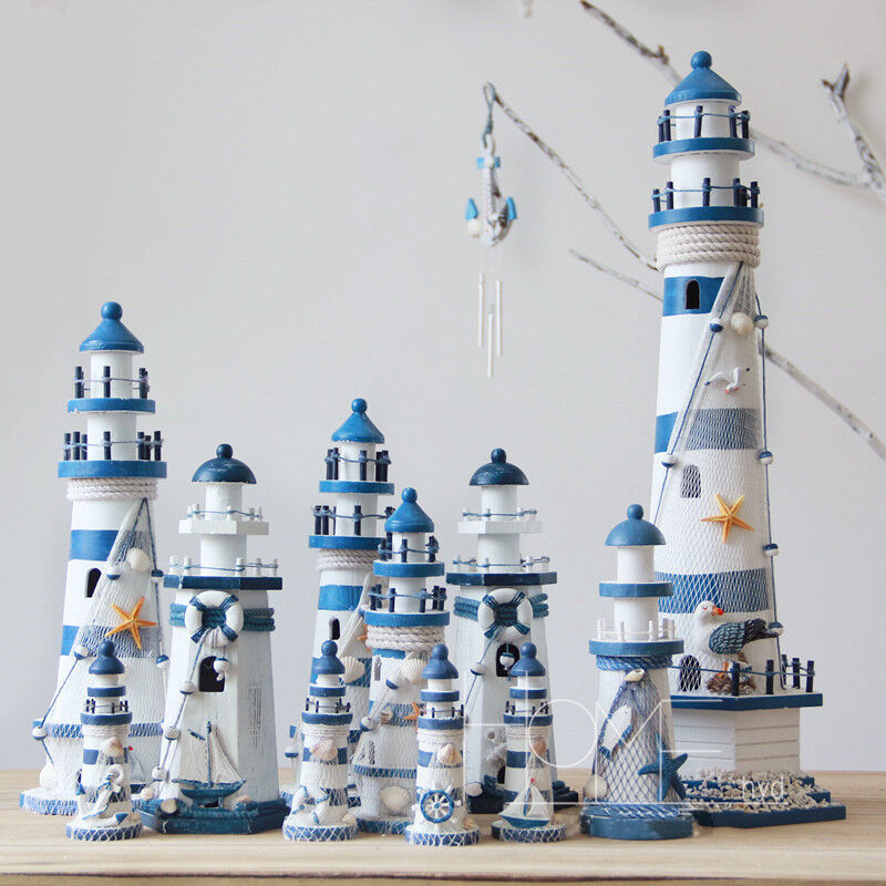 Fishing Home Decor: Blue Mediterranean Wooden Nautical Lighthouse Tower
