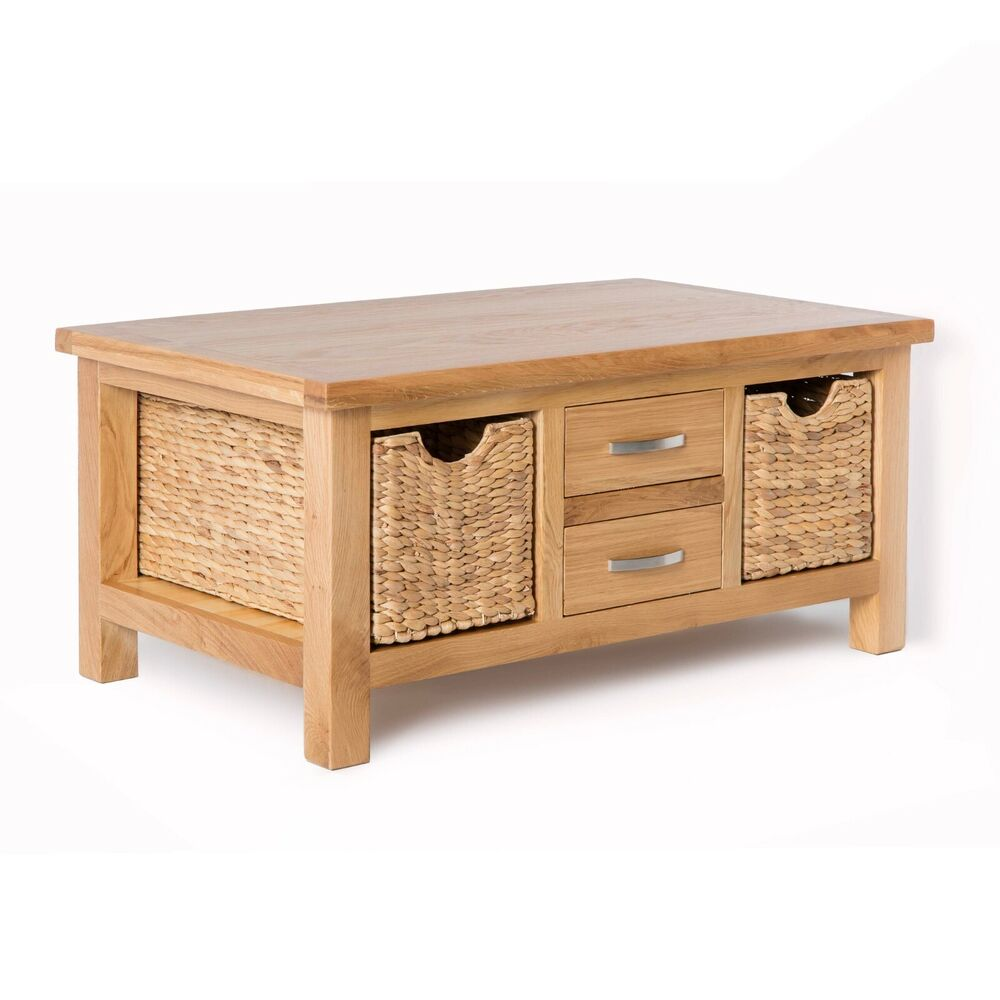 London Oak Coffee Table With Storage Baskets / Light Oak