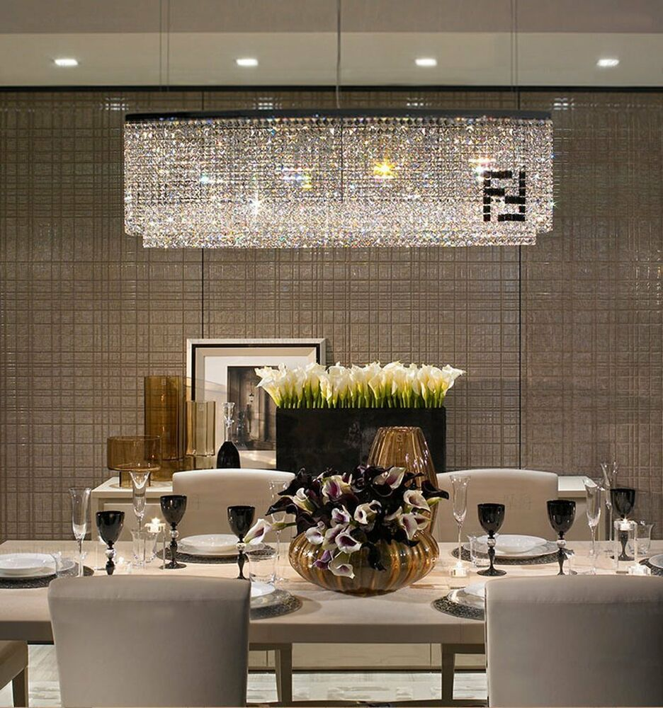 Glass Chandeliers For Dining Room: Contemporary Luxury Rectangular Linear Island Dining Room