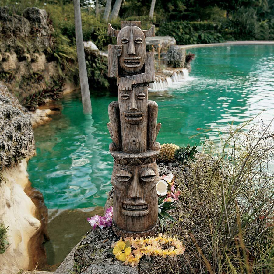 Tiki head totem sculpture polynesian outdoor pool tropical for Outdoor pool sculptures