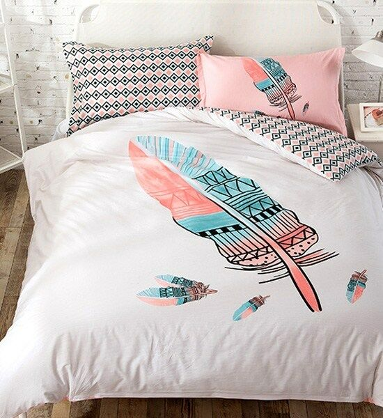 colorful feather print bohemian style queen size 100 cotton duvet cover set ebay. Black Bedroom Furniture Sets. Home Design Ideas