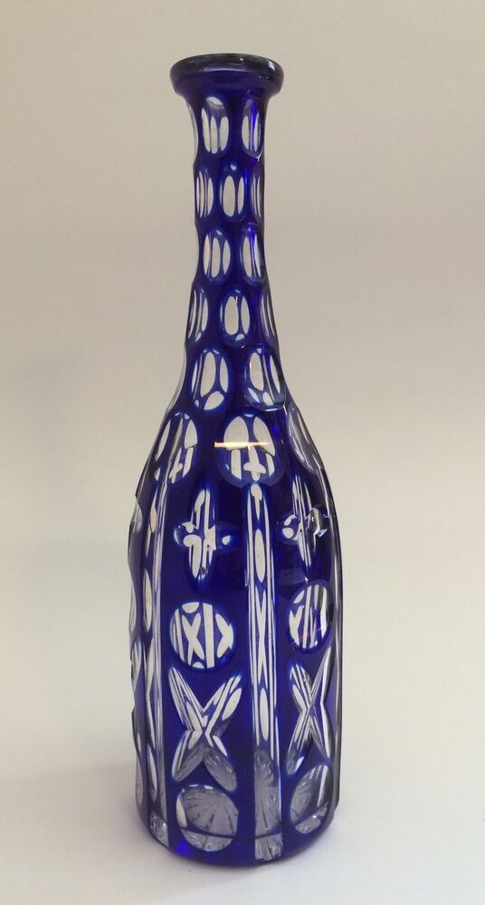 Vintage bohemian cobalt blue cut to clear glass wine for Glass cutter to make glasses from bottles