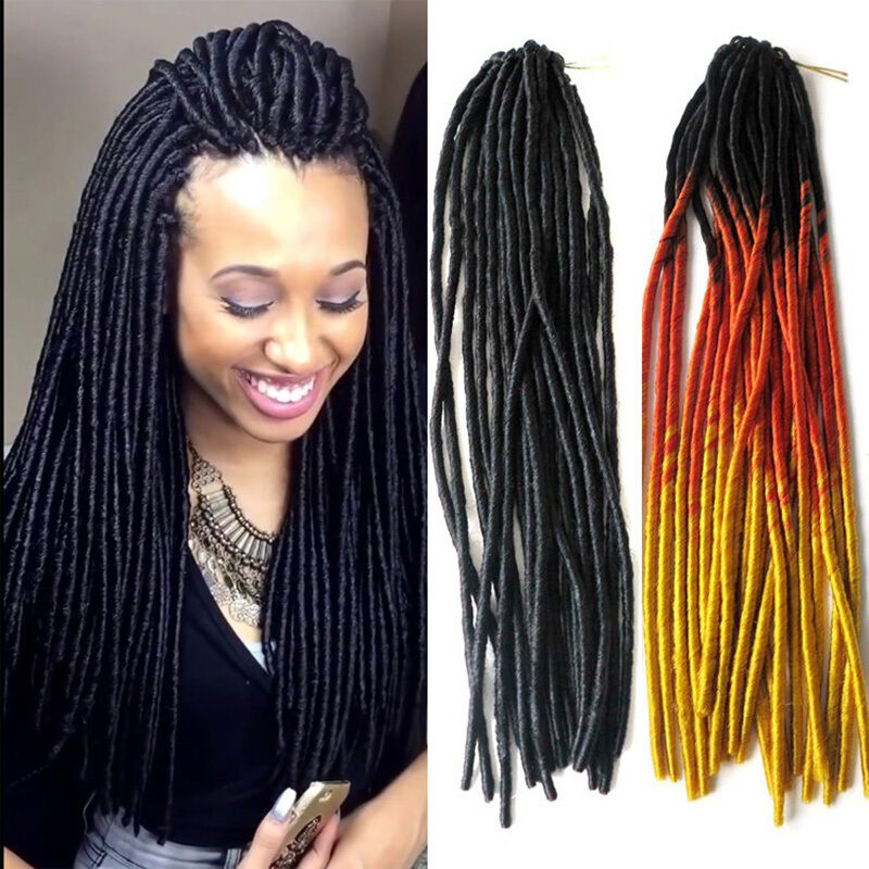 "20"" Soft Dreadlocks Twist Hair Crochet Braid Synthetic Ombre Hair 100g ..."