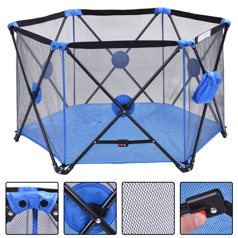 Blue Baby Play Pen Playard Portable Folding Outdoor Indoor Safety Free Standing Ebay
