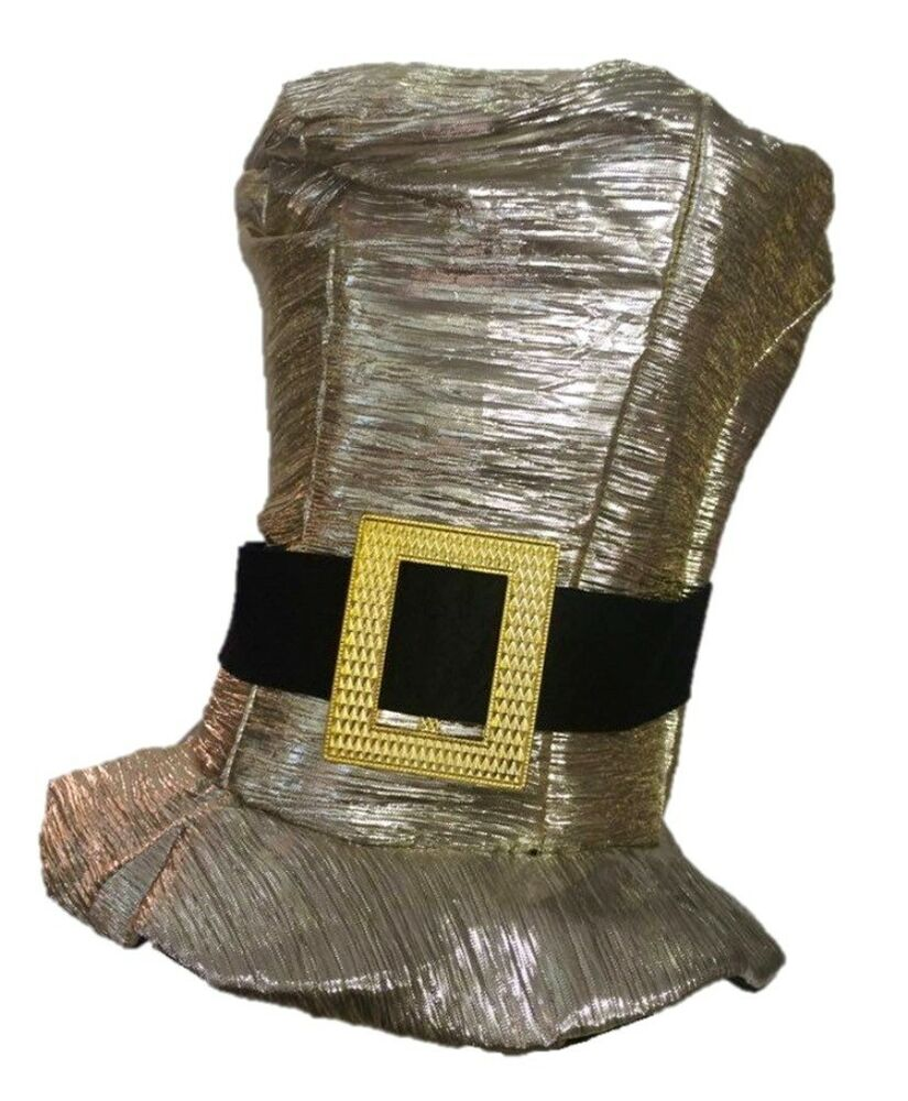 shiny gold silver metallic top hat mens womens