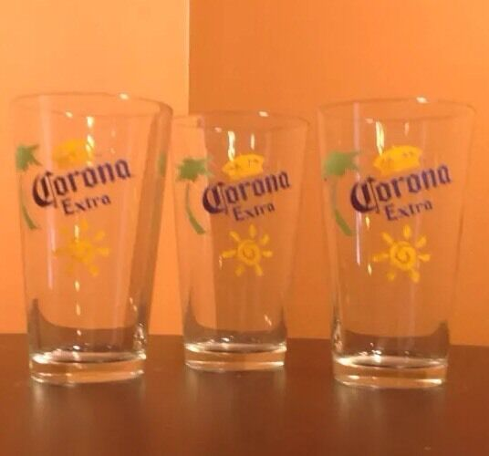 Corona extra beer pint bar glasses set of 3 logo palm for How to make corona glasses