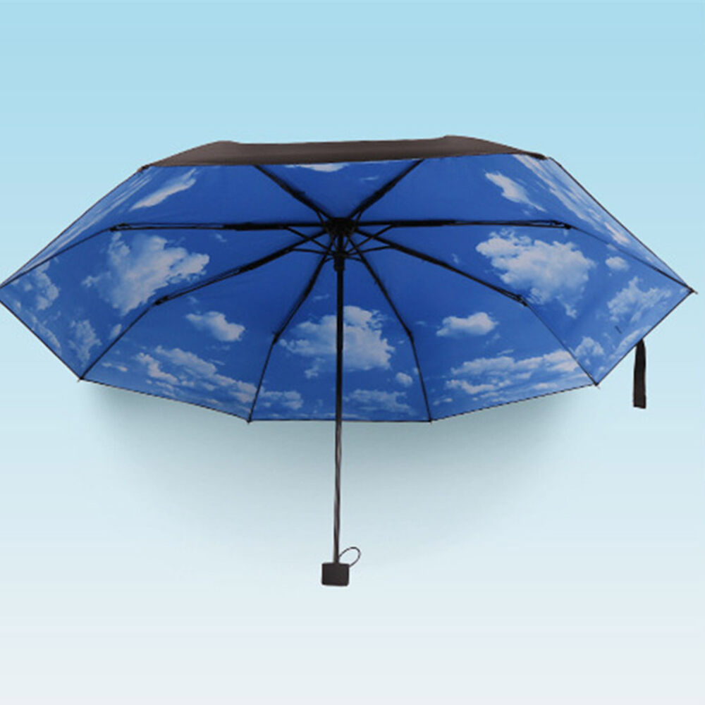 anti uv sun protection umbrella blue sky 3 folding gift parasols rain umbrellas ebay. Black Bedroom Furniture Sets. Home Design Ideas