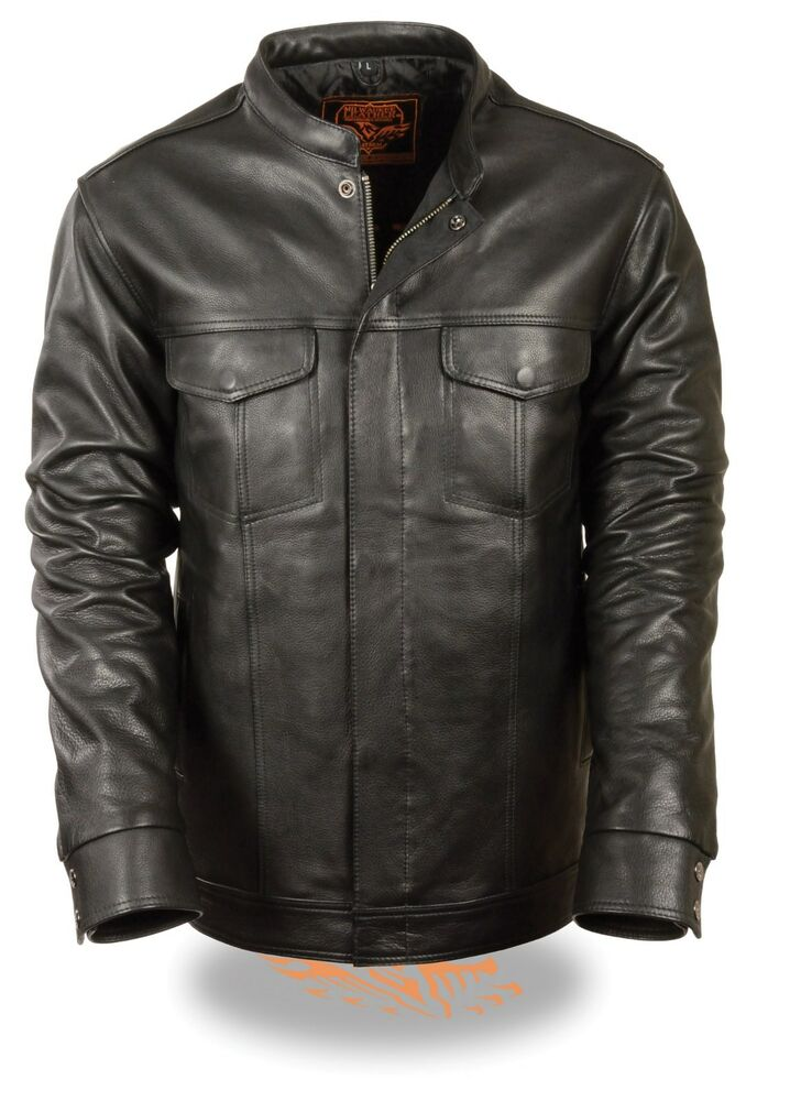 Men 39 s motorcycle son of anarcy leather full sleeve shirt for Leather jacket and shirt