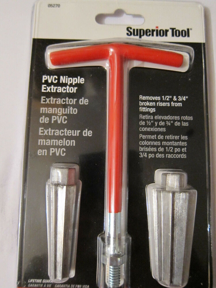 Superior tool pvc nipple extractor removes