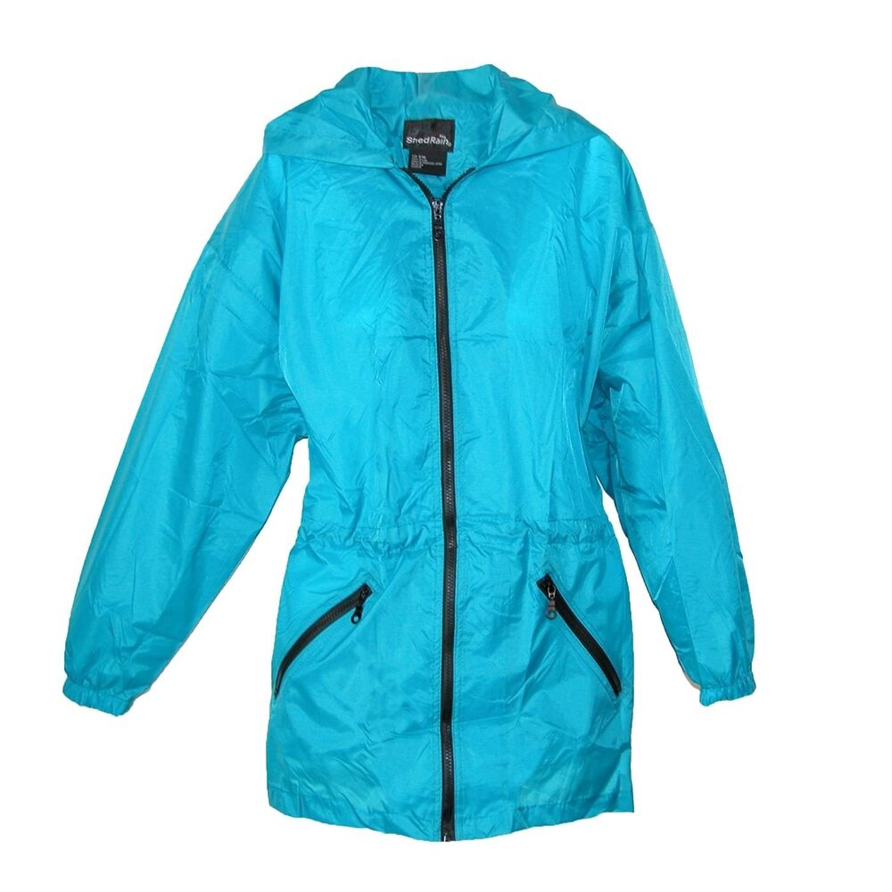 New Shed Rain Packable Anorak Jacket Teal Blue Lightweight