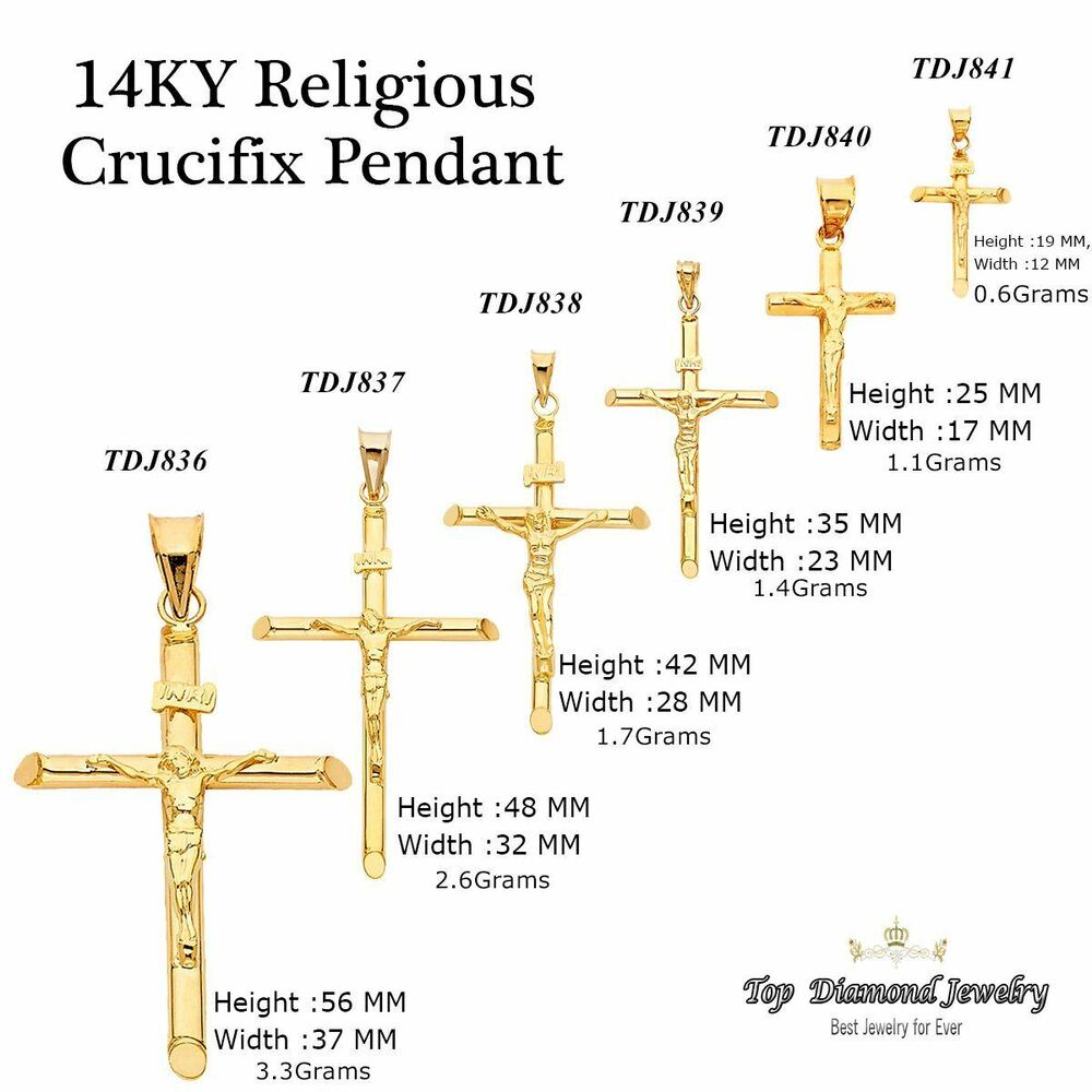 Crucifix Necklace Womens: 14K SOLID YELLOW GOLD Jesus Crucifix Cross Pendant Charm