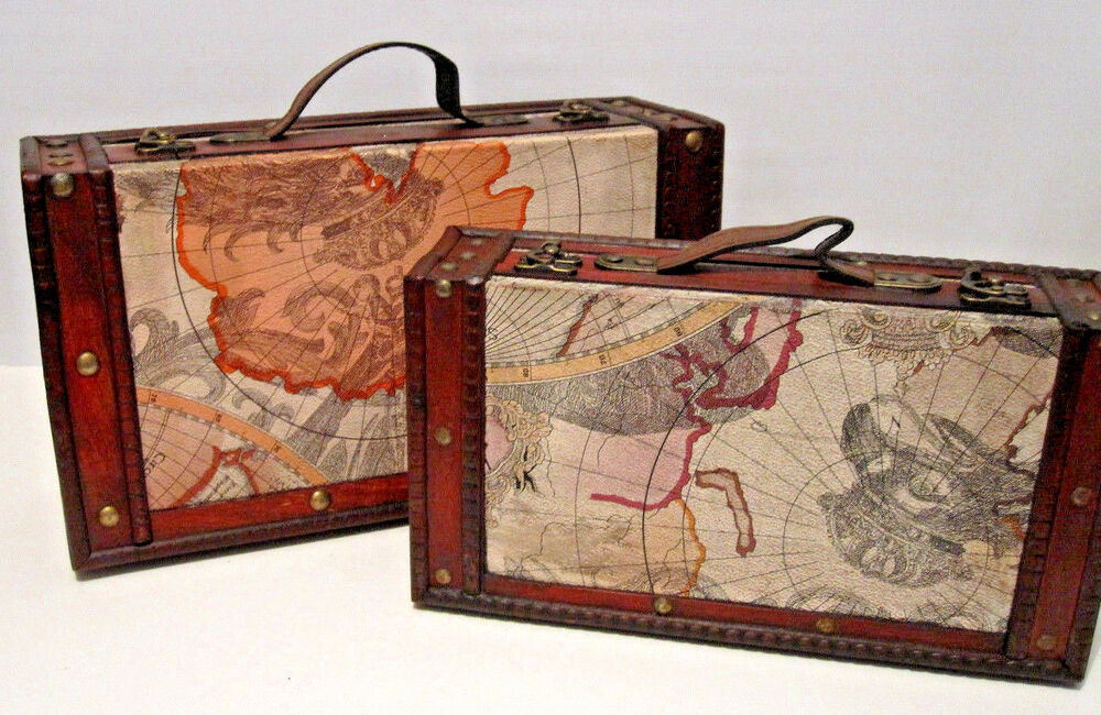 Antique Looking Set Of 2 Old World Map Wooden Suitcase Trunk Box Ebay